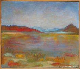 Aftenlandskab ved Skerjafjörður (Island) olie på lærred, 60x70 cm