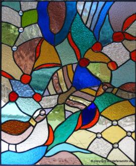 Paradis 1 -blyindfattet glas, 61x50 cm