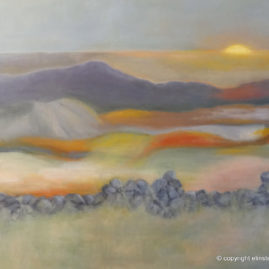 Solnedgang -olie på lærred, 70x90 cm