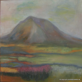 Lonely Volcano -olie på lærred, 40x40 cm