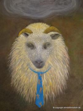 Mr. Sheeple -olie på lærred, 100x75 cm