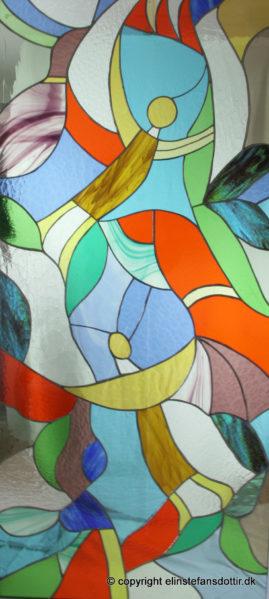 Den Åbne Dør -dørudfyldning, blyindfattet glas, 150x70 cm