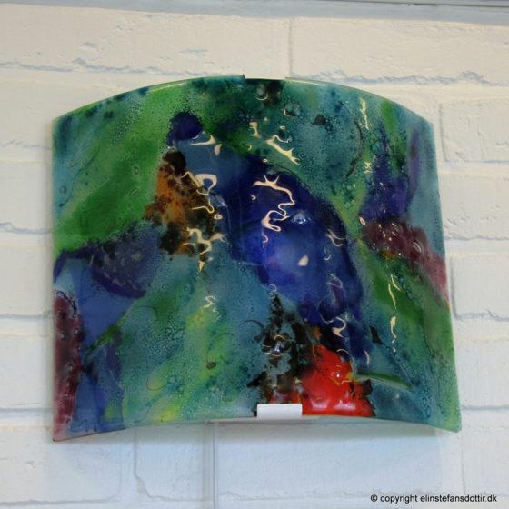 Buelampe af glas, 24x30 cm