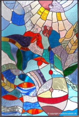 Skærtorsdag -blyindfattet glas, 90x60 cm